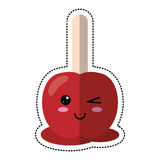 cartoon candy apple with stick Royalty Free Stock Image