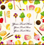 Cartoon candy card Stock Photos