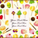 Cartoon candy card Stock Photos