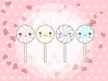 Cartoon candy characters. Vector background with cute cartoon candy characters. Cartoon candy characters Royalty Free Stock Photo