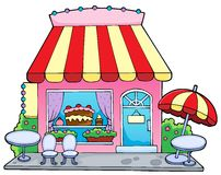 Cartoon candy store. Vector illustration Stock Photos
