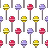 Cartoon candy. Vector illustration. Cartoon candy on a stick. Seamless vector pattern Royalty Free Stock Images