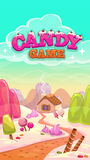 Cartoon  candy world illustration with title Royalty Free Stock Photo