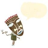cartoon canibal shaman with speech bubble Royalty Free Stock Photos