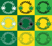 Cartoon cannabis icon with green cannabis leaves  illustration Stock Photos