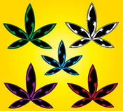 Cartoon cannabis marijuana indica leaf symbol  illustration Royalty Free Stock Image