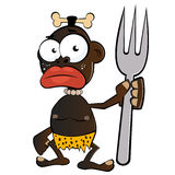 Cartoon cannibal with fork. Illustrated cartoon of a black cannibal holding a large fork with a bone in his hair isolated against a white background Stock Photos