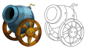 Cartoon cannon - isolated - coloring page Stock Image