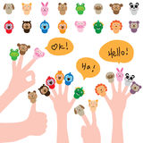 Cartoon cap finger cute set. This illustration is abstract cartoon cap the finger play with animal  on white color background set Royalty Free Stock Image