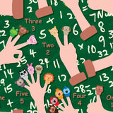 Cartoon cap finger math seamless pattern. This illustration is cartoon cap the finger math 1 - 5 number count in green color chalk board background with writing Stock Photo