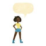 Cartoon capable woman with speech bubble vector illustration