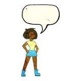 Cartoon capable woman with speech bubble stock illustration