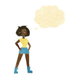 Cartoon capable woman with thought bubble royalty free illustration