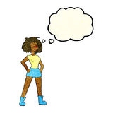 Cartoon capable woman with thought bubble stock illustration