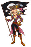 Cartoon captain pirate girl with Jolly Roger Royalty Free Stock Photography