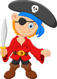 Cartoon captain pirate holding a sword Stock Images