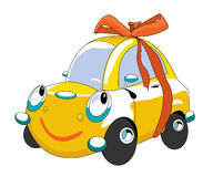 Cartoon car. The cartoon car with red bow Royalty Free Stock Photo