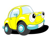 Cartoon car. The yellow cartoon car with smile Stock Image