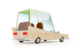 Cartoon 1970 car back. Cartoon 1970 car in hipster styles on white background, back view Stock Photo