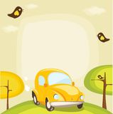 Cartoon car background with place for your text. Illustration Royalty Free Stock Photo
