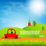Cartoon car on a background summer landscape Stock Photography