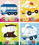 Cartoon car card Royalty Free Stock Photos