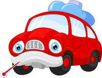 Cartoon car character needing repair Stock Image