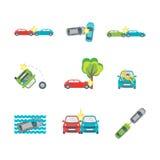 Cartoon Car Crash Set Different Variants Accidents. Vector. Cartoon Car Crash Set Different Variants Accidents Flat Design Style. Vector illustration Stock Image