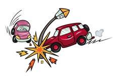 Cartoon car crashed into a lamppost. Stock Photos