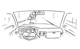 Cartoon of Car Dashboard and Driver`s Hands on Steering Wheel While Pedestrian Is Almost Run Down. Cartoon stick figure drawing conceptual illustration of car royalty free illustration
