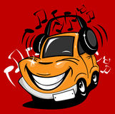 Cartoon car enjoying music. Listening to music, which plays in the headphones. Vector illustration Stock Image