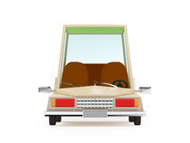Cartoon 1970 car front. Cartoon 1970 car in hipster styles on white background Stock Photos