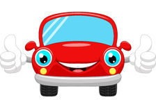Cartoon car gives thumbs up Stock Image