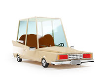Cartoon 1970 car. In hipster styles on white background Stock Image