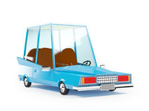 Cartoon 1970 car. In hipster styles on white background Royalty Free Stock Photo