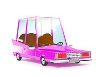 Cartoon 1970 car. In hipster styles on white background Royalty Free Stock Photography