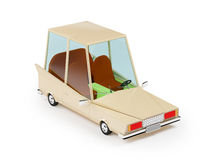 Cartoon 1970 car. In hipster styles on white background Stock Photo