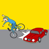 Cartoon Car Hits Bike Rider Stock Photo