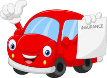 Cartoon car holding insurance paper and giving thumb up Stock Image