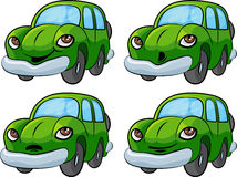Cartoon Car. Illustration of green cartoon car, four different emotions, isolated on white background Stock Photos