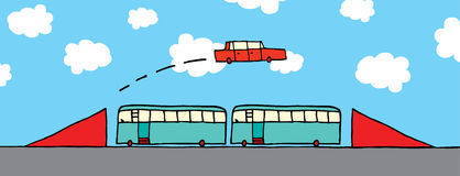 Cartoon car jumping buses Royalty Free Stock Images