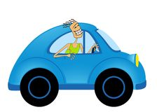 Cartoon car and  man Royalty Free Stock Image