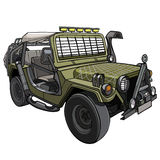 Cartoon car Military SUV with awning and canopies Royalty Free Stock Images