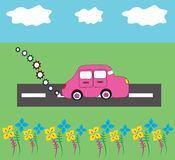Cartoon car nature stock illustration