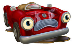 Cartoon car needing repair Royalty Free Stock Photos