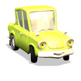 Cartoon car No. 11. Car with a laughing face. Closed model. Very yellow Royalty Free Stock Photo