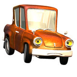 Cartoon car No. 18. Car with a saddened face. Knallbunte varnishing, drives fast around the corner Stock Image