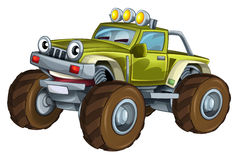 Cartoon car - off road vehicle - caricature Royalty Free Stock Photography