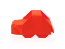 Cartoon car. Origami red isolated cartoon car on a white background Stock Image