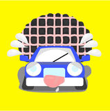 Cartoon car with over limit load Stock Image